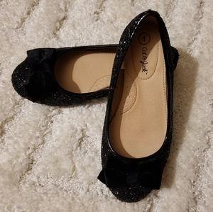 Cat & Jack Girls-sz 1 Black Sparkle Dress Flats